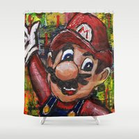 mario Shower Curtains featuring Mario  by Megan Bailey Gill