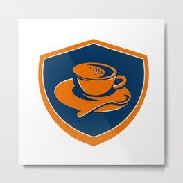 Coffee Cup Teaspoon Crest Retro Metal Print