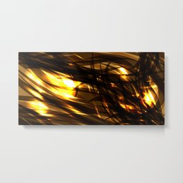 Saturated copper and smooth sparkling lines of black tapes on the theme of space and abstraction. Metal Print