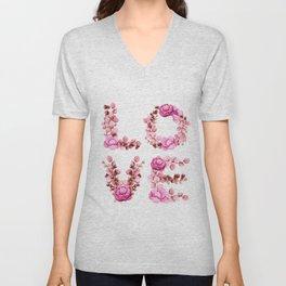 L-O-V-E in Pink Flowers Unisex V-Neck