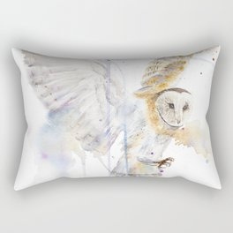 """Watercolor Painting of Picture """"White Owl"""" Rectangular Pillow"""