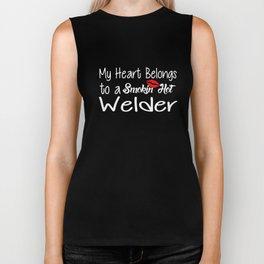 Funny Smokin'hot Welder Proud Wife Girlfriend Union Home Husband Welder T-Shirts Biker Tank