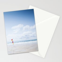 tilt and shift Lifeguard flag, Fistral Beach, Cornwall Stationery Cards