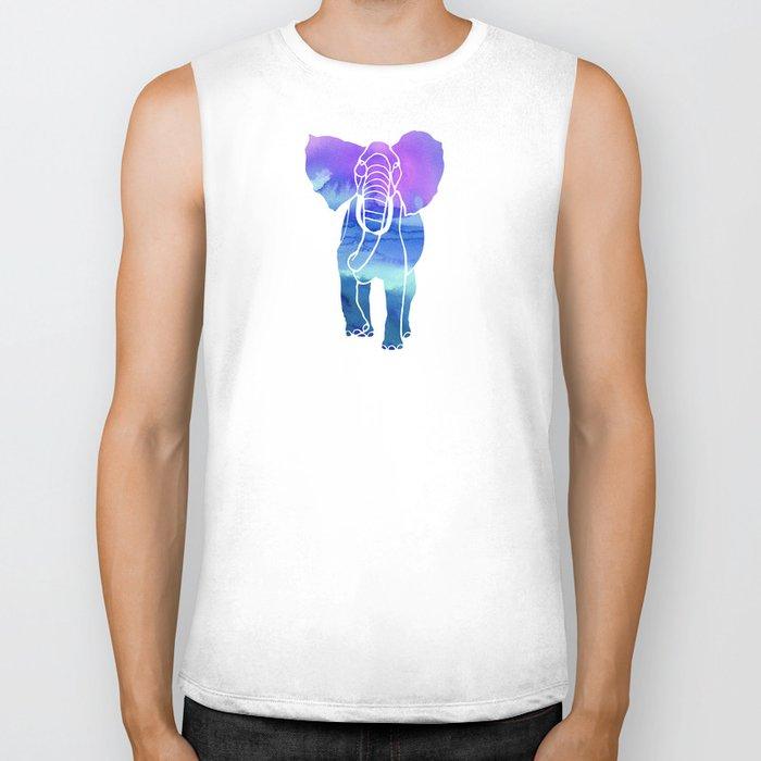 Watercolor Elephant Biker Tank