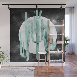 Cactus Nights Full Moon Starry Sky Sage by Nature Magick Wall Mural