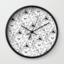Cryptid Lineart Pattern 2 (White) Wall Clock