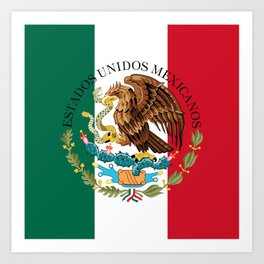 Mexican flag augmented scale with Coat of Arms Art Print