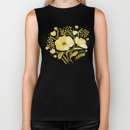 Flower bouquet with poppies - yellow Biker Tank