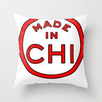 chicago bulls Throw Pillows featuring Made in Chicago CHI BULLS by DCMBR - December Creative Group