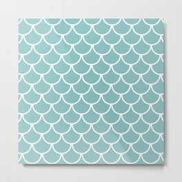 Chalky Blue Fish Scales Pattern Metal Print