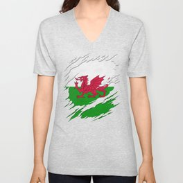 Flag of Wales Ripped Reveal Unisex V-Neck
