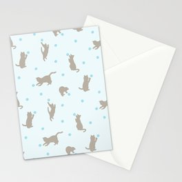 Polka Dot Cats in Blue Stationery Cards
