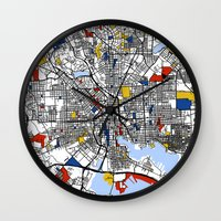 baltimore Wall Clocks featuring Baltimore Mondrian by Mondrian Maps