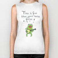 muppets Biker Tanks featuring Muppets Kermit by BlackBlizzard