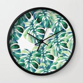 Monstera Pattern Green Wall Clock
