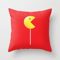 pac man Throw Pillows featuring Pac-Man by Tony Vazquez