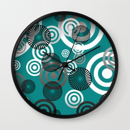 Spiral circles black & white - turquoise Wall Clock