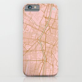 Pink and gold Medellin map, Colombia iPhone Case