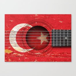 Old Vintage Acoustic Guitar with Turkish Flag Canvas Print