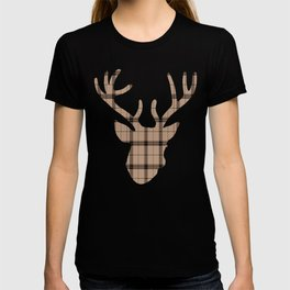 Plaid Deer Head: Brown T-shirt