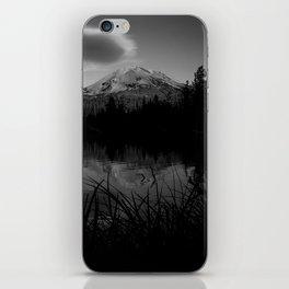 Lassen Volcanic National Park - Mt. Lassen Reflection in Black and White iPhone Skin