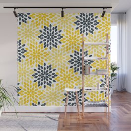 Yellow and Gray Charcoal Modern Floral Wall Mural