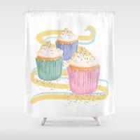 sprinkles Shower Curtains featuring Sprinkles by Hayley Bowerman Design
