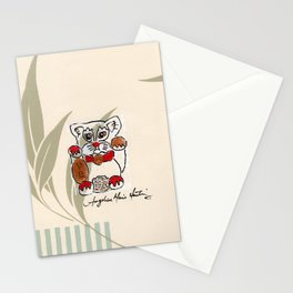 Two Paws Up Do Protection Lucky Cat Stationery Cards