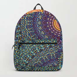 Happy Sun Circle Bohemian Geometric Thread Weave Pattern \\ Yellow Green Blue Purple Color Scheme Backpack