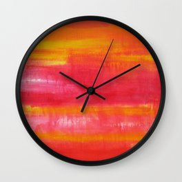 'Summer Day'  Orange Red Yellow Abstract Art Wall Clock