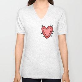 Stitched Heart Unisex V-Neck
