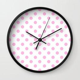 Polka Dots (Pink & White Pattern) Wall Clock