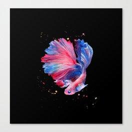 Betta Splendens Fish - Black Background Canvas Print