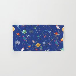 Space Rocket Pattern Hand & Bath Towel