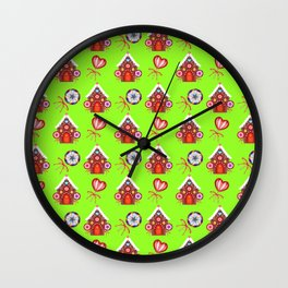 Magical gingerbread houses, colorful candy lollipops. Retro vintage cozy Christmas pattern Wall Clock