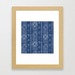 Line Mud Cloth // Dark Blue Framed Art Print