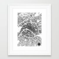 paris map Framed Art Prints featuring PARIS MAP by Maps Factory