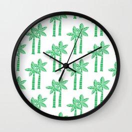 Palm Tree Pattern Green 3 Wall Clock