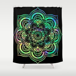 Neon Psychedelic Mandala Shower Curtain