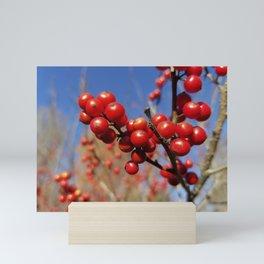 Winterberries glow against a blue autumn sky Mini Art Print