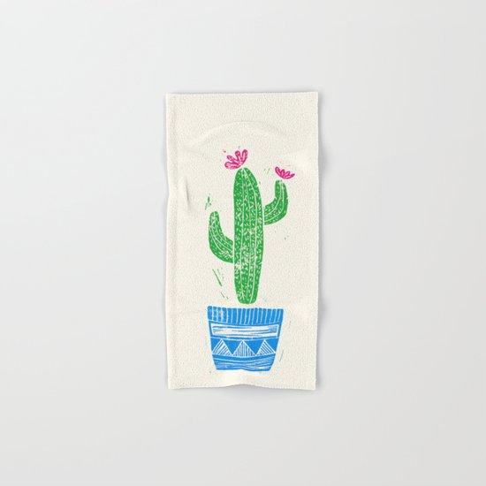 Linocut Cacti #2 in a pot Hand & Bath Towel
