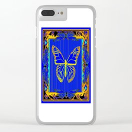 Lapis Blue & Gold Monarch Western Art design Clear iPhone Case