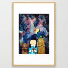 winter night, starry night, a girl and bears, stars, space Framed Art Print