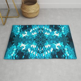 girly glam turquoise blue sequins mermaid scales Rug