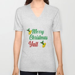 Merry Christmas Y'all Southern Holiday Unisex V-Neck