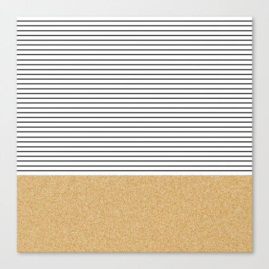 Minimal Gold Glitter Stripes Canvas Print