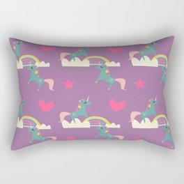 unicorn and rainbow purple Rectangular Pillow