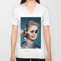 goddess V-neck T-shirts featuring Goddess by Alba Blázquez