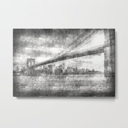Brooklyn Bridge New York Vintage Metal Print