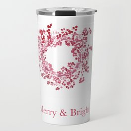 Red Merry & Bright Christmas Berry Wreath Watercolour Travel Mug
